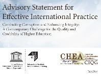 Advisory Statement for Effective International Practice: Combatting Corruption and Enhancing Integrity
