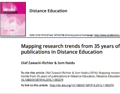 Mapping research trends from 35 years of publications in Distance Education